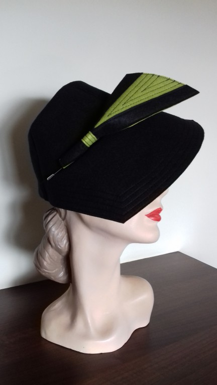 CELIA 1940 S HALF BRIM TOPPER STYLE HAT Black Chartreuse - The ... ffbb2fb7052