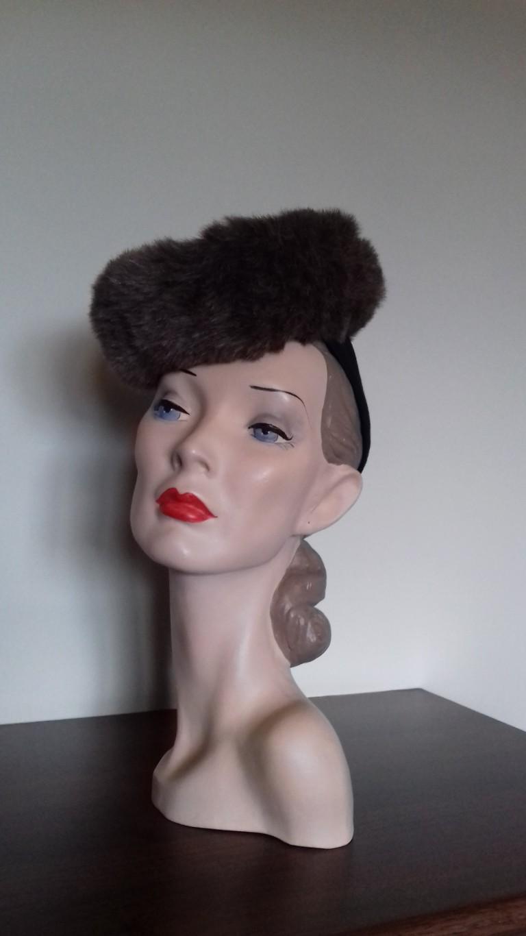 1940's Faux Fur Doughnut Hat